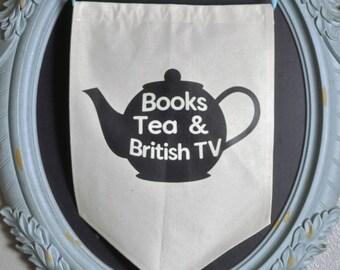 Books Tea and British TV Canvas Banner