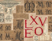 Digital Download - Set of 4 French antique scrapbook calligraphy typeface collage mixed media art jpg file, Script printable paper goods