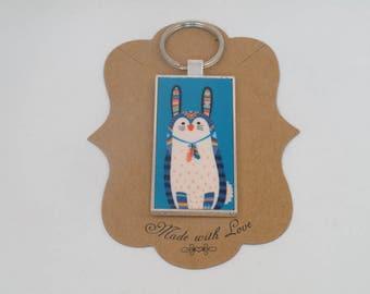 Bunny Rabbit  Southwest Tribal Turquoise  metal key ring