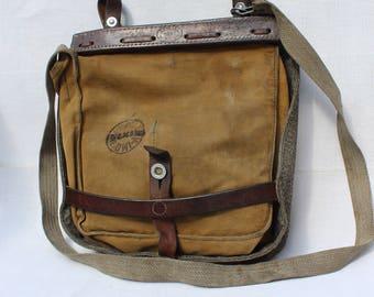 """Vintage 1940's Swiss Military """"SALT&PEPPER"""" Canvas Bread Bag, Shoulder Messenger Bag, from 1944, WW2 Era"""