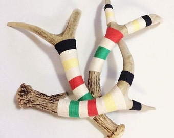 Wrapped Deer Antlers shed yarn wrapped