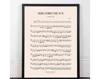 Here Comes the Sun, the Beatles, bedroom art, Printable art poster, kitchen art, bar art, INSTANT DOWNLOAD, sheet music, studio art, 60s