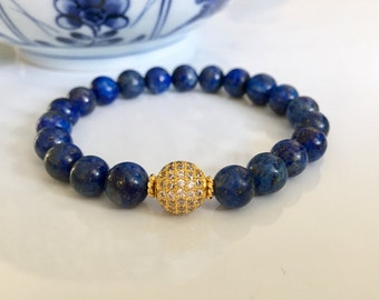 Lapis Lazuli 14K Gold CZ Pave Minimalist Bracelet, Healing Crystals, Gemstone Bracelets, Gifts for Her, Lapis Lazuli Jewelry