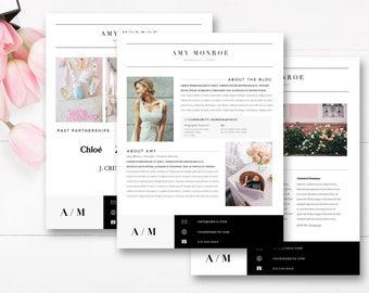 Media Kit Template 4 Page, Blogger Media Kit, Blog Media Press Kit Template, Indesign Photoshop Word - INSTANT DOWNLOAD