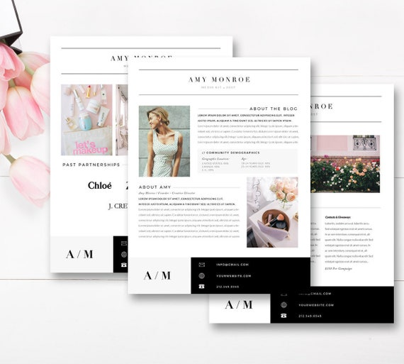 Media kit template 4 page blogger media kit blog media press media kit template 4 page blogger media kit blog media press kit template indesign photoshop word instant download pronofoot35fo Image collections
