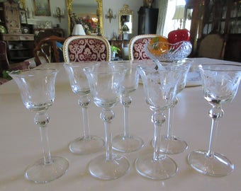 ETCHED CORDIAL GLASSES