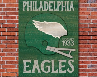 Philadelphia Eagles - Vintage Helmet - Art Print - Perfect for Mancave