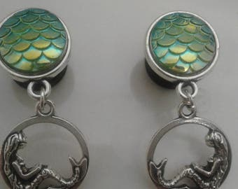 Mermaid scales, mermaid chilling by the sea dangle plugs