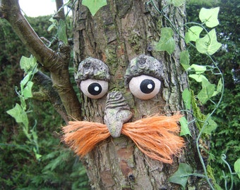 Garden ornaments, sculptures, statues, valentines gifts for gardeners, tree faces, funny faces moustaches face sculptures handmade yard art