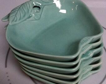 6 Vintage Hoenig of California  Aqua Turquoise Lazy Susan Apple Dishes 734