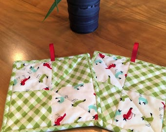 Gingham & Birds Quilted Potholders