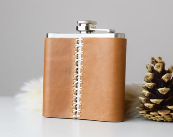 Leather flask, leather hip flask, personalized flask, initials flask, mens leather flask, groomsman flask, leather gift for him