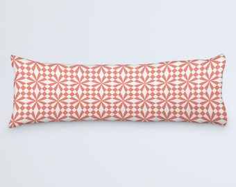 Geometric Body Pillow, Pink Large Pillow, Coral Bed Pillow, Coral White Pillow, 20x54 Pillow Cover, Body Pillow Case, Large Pattern Cushion