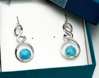 Larimar 10mm AAA Quality (Beautiful Blue) White Sapphire Accents Earrings  .925 Sterling Silver