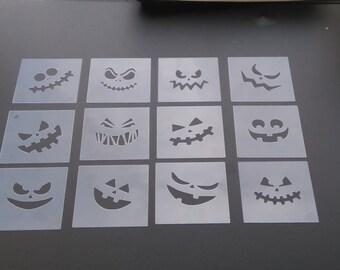 Pack of 12  pumpkin  face stencils.