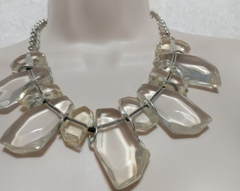 SALE Statement Crystal Clear Lucite Slab/Rock Necklace Choker