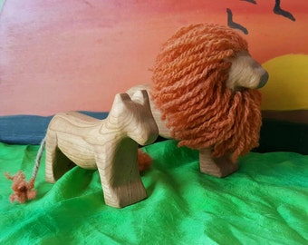 Lion playset, wooden playset, wooden set, wooden lion, lioness