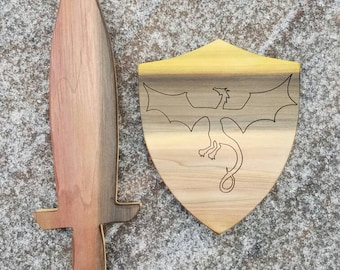Wooden sword and shield, wooden sword, wooden shield, dragon shield, sword, shield, play set, wooden play set, sword and shield play set