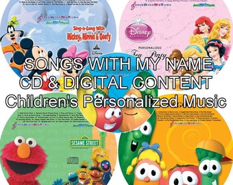 "Name Personalized Children Cd & ""New"" MP3 Digital Content - Mickey Mouse, Disney Princess, Elmo, Veggie Tales"