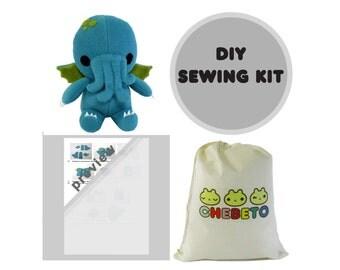 Cthulhu Sewing Kit, DIY Stuffed Monster, Plush Sewing Kit, Cthulhu Kit, DIY Cthulhu, Monster Sewing Kit, DIY Cthulhu Kit, Plush Toy Kit