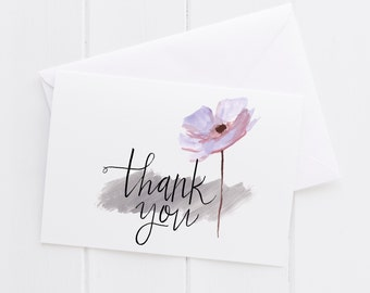 Thank You Hand lettered Note Card, print, typography gift, holiday present, bedroom home decor quote, card, mom sister friend dad brother