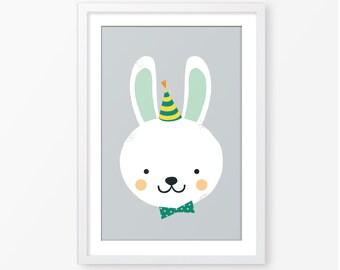 Kids poster,nursery poster,neutral gender,animal print,nursery printable,kids room decor,baby poster,rabbit illustration,nursery poster