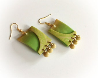 Earrings, gold, green, polymer clay, screen print