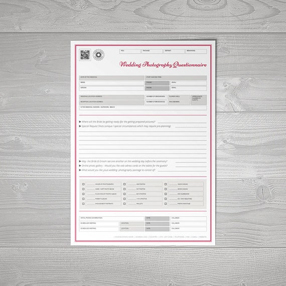 Wedding photography questionnaire template for Etsy shop policies template