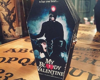 Wood coffin box, My Bloody Valentine, Horror Halloween Decor