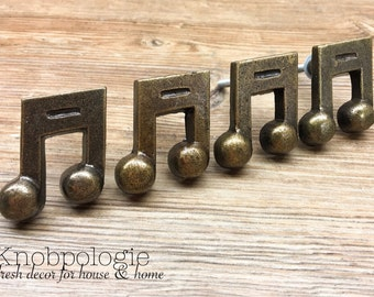 SET OF 4 - Music Note Knobs - Melody Piano Musician's Antique Bronze - Musical Drawer Pulls