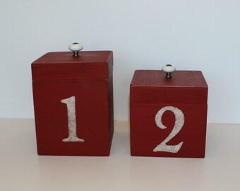 Red Box Pair, Porcelain Knobs, Stenciled Box