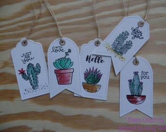 Cactus and succulents gift tags
