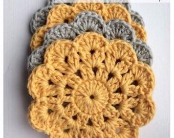 Crochet Coasters - Shabby Chic Crocheted Coasters - Set of 4 Cotton Crocheted Coasters - Grey/Yellow