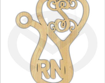 Unfinished Wood Stethoscope Shape Laser Cutout with Initial & Credentials, Wreath Accent, Ready to Paint and Personalize, Various Sizes