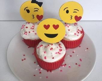 Emoji Valentine's Day Cupcake Toppers