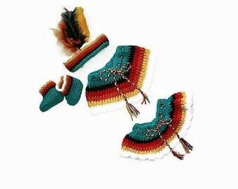 Indian Pattern, Baby Indian, Baby Girl Pattern, PDF Pattern, Native American, Indian Headband, Crochet Pattern, Baby Girl Clothes, Baby Girl
