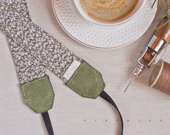 Handmade Camera Strap *green floral pattern*