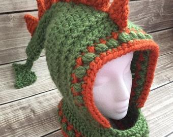 Dinosaur hat, dinosaur cowl, dinosaur hood, dinosaur winter hat, warm dinosaur hat, green dinosaur hat, green winter hood