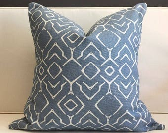 Pillow Cover, Blue Ikat Pillow Cover, VINCE