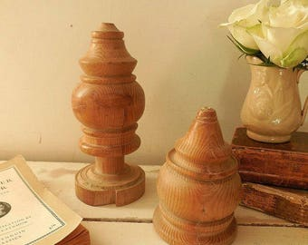 Vintage Turned Wooden Staircase Finials