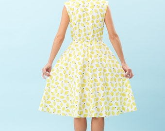 The yellow Lemon dress, fruit print, white and yellow cotton dress,Party dress, Holiday dress long dress, feminine, ZIKGER new collection