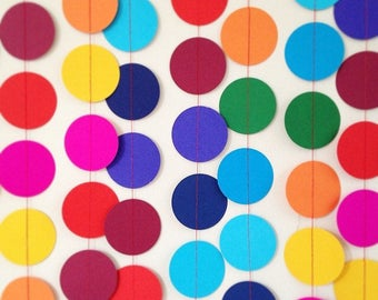 Colourful kids party paper circle garland