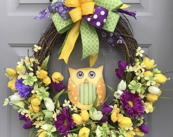 Owl Spring Floral Grapevine Wreath