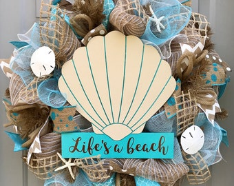 Life's A Beach Burlap Deco Mesh Wreath with Seashells, Seashell Wreath, Beach Wreath, Starfish Wreath