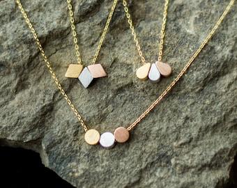 Triple Necklace, Triple circle, 3 circles, 3 teardrops, 3 diamonds, Triple diamond necklace, friendship necklace, disk necklace, dainty