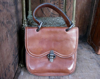 Brown Leather Bag, Vintage Bag, Leather Purse, Tan Leather Bag, Over Arm Bag, 1960s Bag, 1960s Handbag, Mid Century, 1960s Purse, Boho