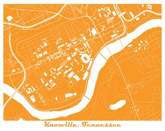 Knoxville Map Art Print, University of Tennessee!