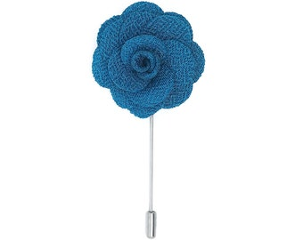 FLOWER LAPEL PIN: Teal Microfiber Rose. Custom Mens Handmade Wedding Boutonniere, Brooches, Lovely Lapels
