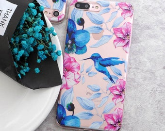 1 x Colourful Flower and Blue Bird Soft TPU Phone Case for Iphone 7