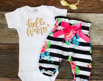 Baby Take Home Outfit Girl | Coming Home Outfit for Baby Girl Black White Stripe High Waisted Pants Outfit | Hello World Winter Take Home